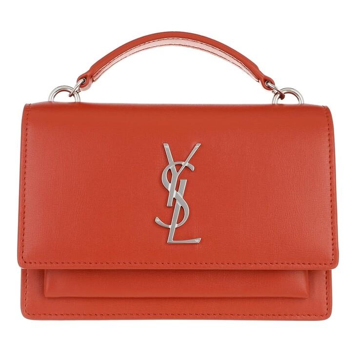 wallets, Saint Laurent, Sunset Chain Wallet Leather Orange Poppy