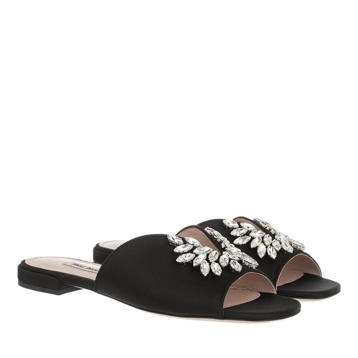 Schuh, Miu Miu, Crystal Embellished Satin Sandals Black
