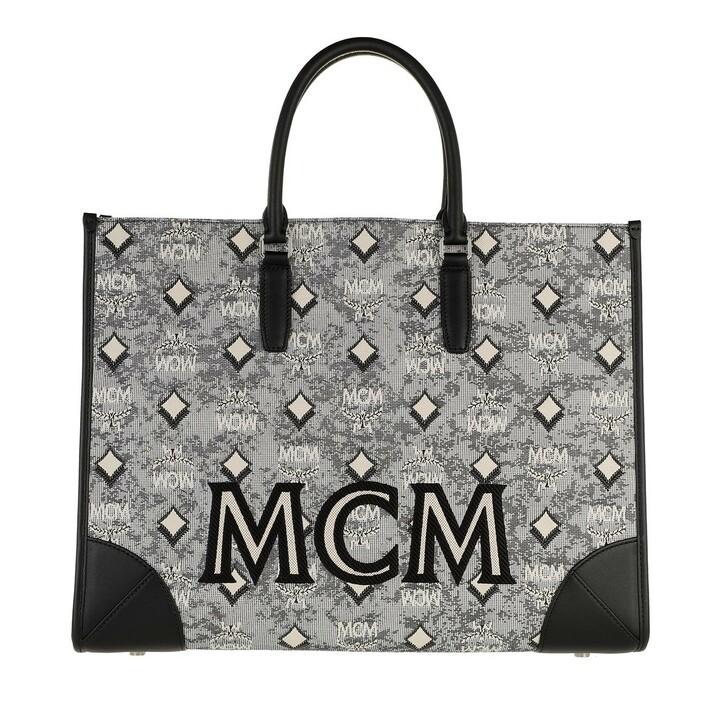 bags, MCM, Visetos Jacquard Large Tote Bag Grey