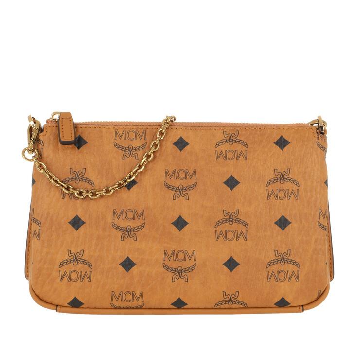 Handtasche, MCM, Millie Medium Top Zip Cognac