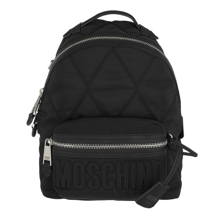 bags, Moschino, Quilted Zip Backpack Black Fantasy Print
