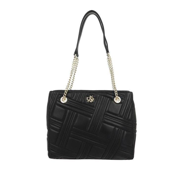 Handtasche, DKNY, Alice Small Double Zip Tote Leather Black Gold