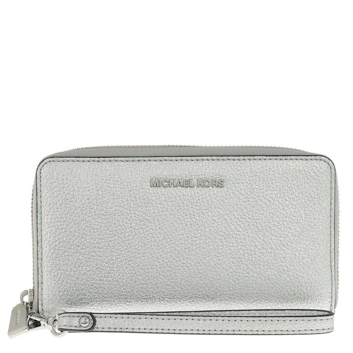 Geldbörse, MICHAEL Michael Kors, Jet Set Large Flat Multifunction Phone Case Silver