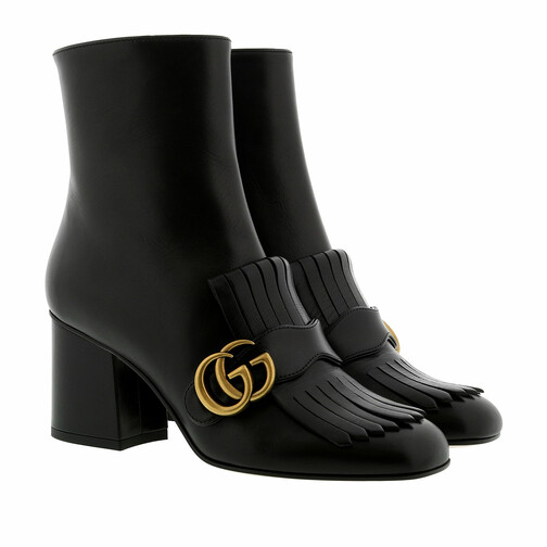 gucci -  Boots & Stiefeletten - Double G Ankle Boot Leather - in schwarz - für Damen