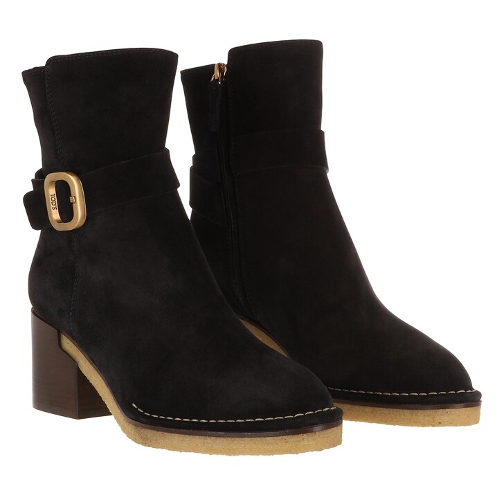 Schuh, Tod's, Buckle Strap Ankle Boots Suede Black