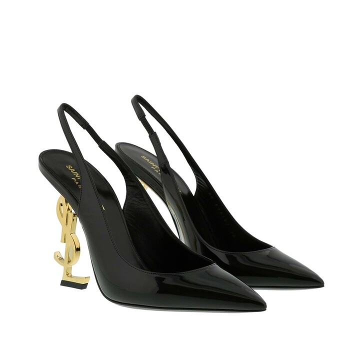 Schuh, Saint Laurent, YSL Opyum 110 Slingback Pumps Black/Gold