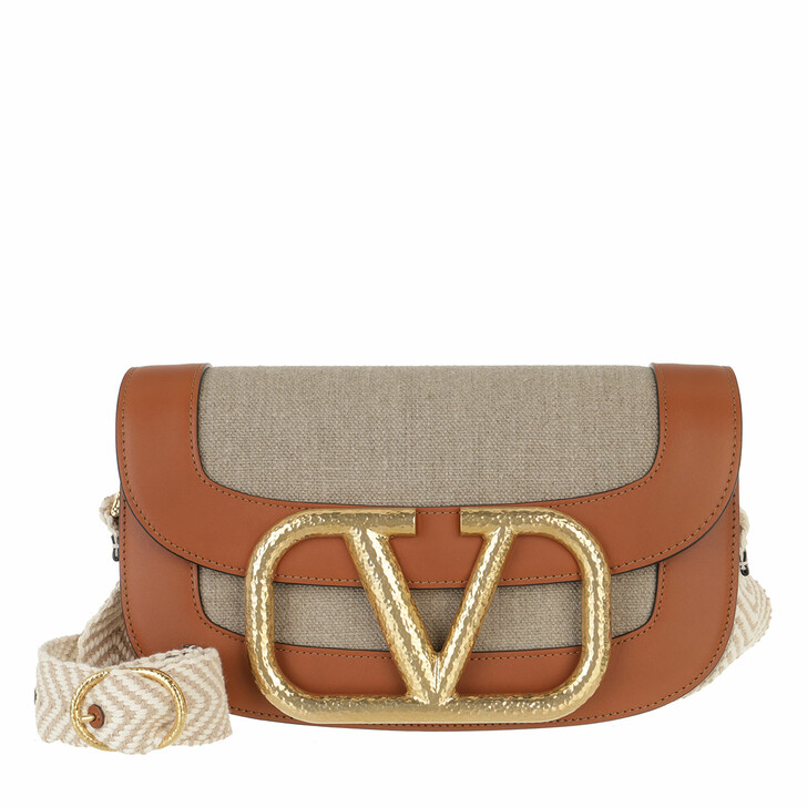 Handtasche, Valentino Garavani, Supervee Crossbody Bag Linen Leather Beige Cuoio