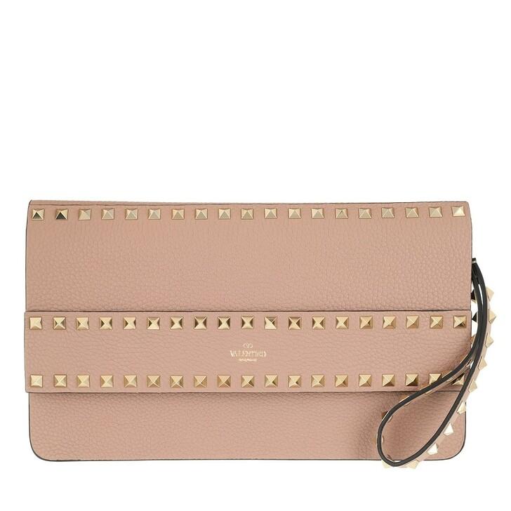 Handtasche, Valentino, Rockstud Clutch Leather Poudre