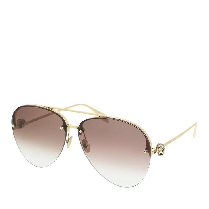 sunglasses, Alexander McQueen, AM0270S-002 63 Sunglasses Gold-Gold-Brown