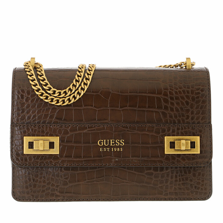 bags, Guess, Katey Convertible Xbody Flap Brown