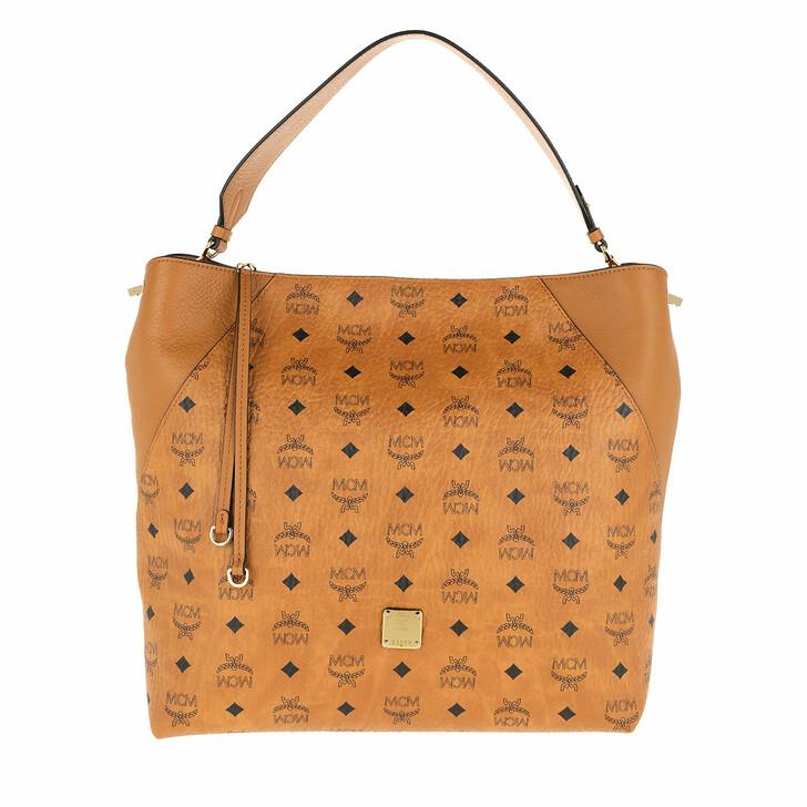 bags, MCM, Klara Visetos Hobo Large Cognac