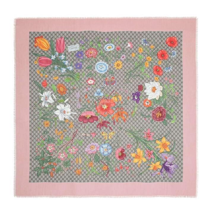 Schal, Gucci, GG Flora Printed Wool Silk Scarf Beige/Pink