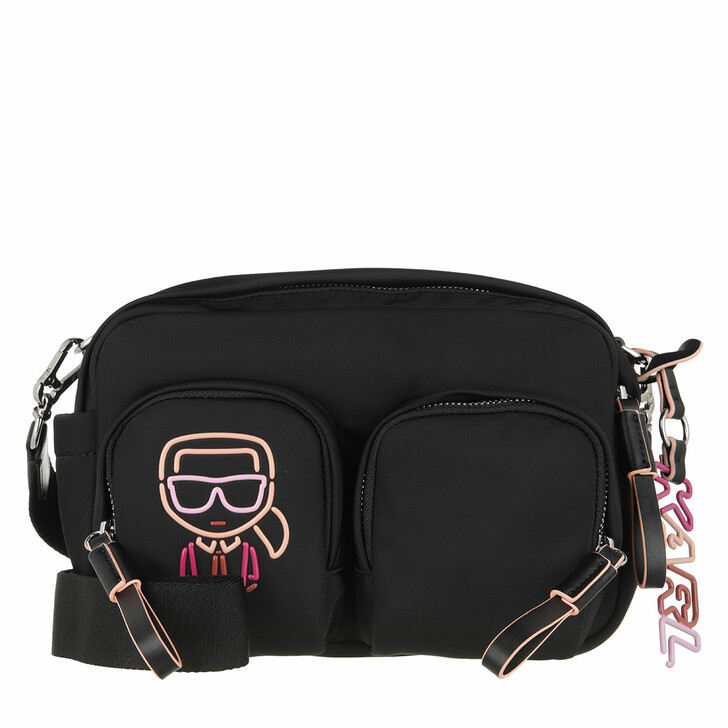 bags, Karl Lagerfeld, Ikonik Biarritz Nylon Shoulderbag  Black