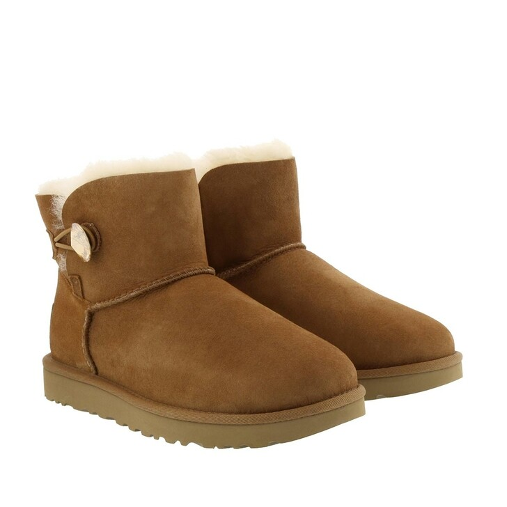 Schuh, UGG, Mini Bailey Button Bling Boot Chestnut Gold