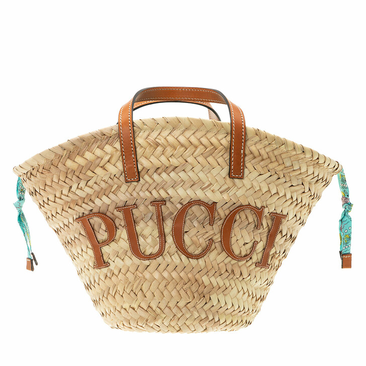 bags, Emilio Pucci, Bucket Bag Solid Naturale+Turchese