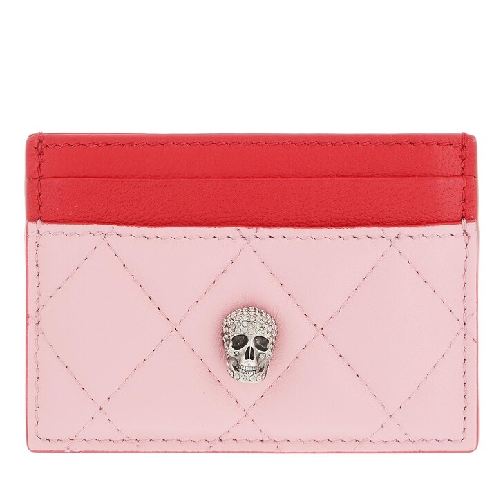 wallets, Alexander McQueen, Pave Skull Card Holder Pastel Pink Multi