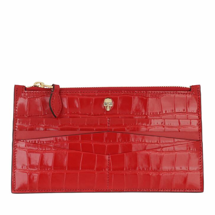 wallets, Alexander McQueen, Skull Flat Zip Wallet Leather Deep Red
