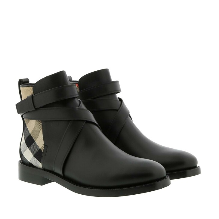 shoes, Burberry, House Check Ankle Boots Leather Black Archive Beige