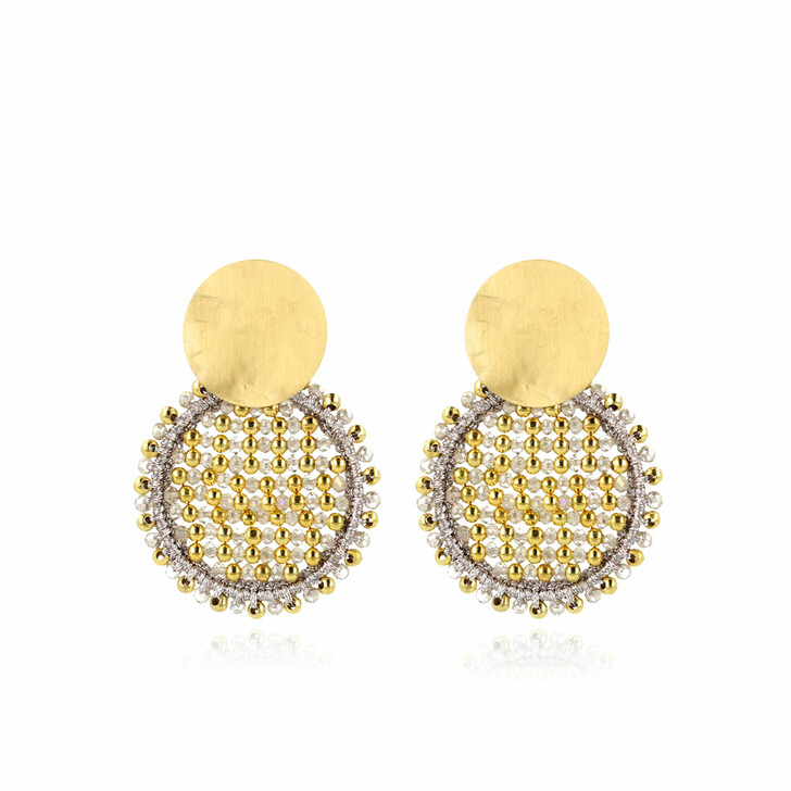 earrings, LOTT.gioielli, Earring Silk Circle Abacus Double Stones Medium Champagne and Gold