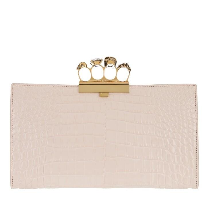 Handtasche, Alexander McQueen, Croco Effect Pouch Leather Pink