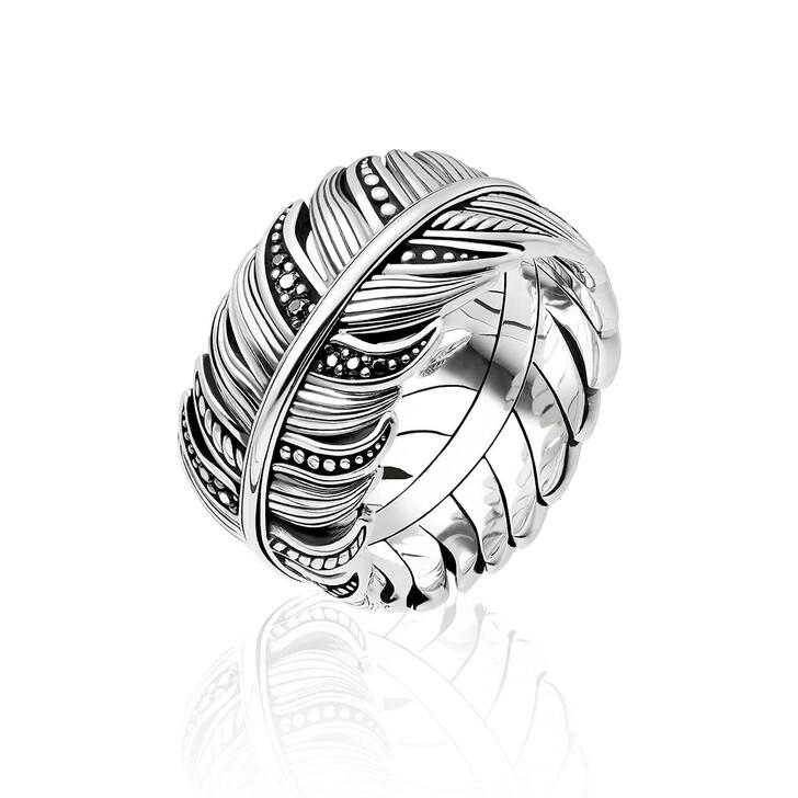 Ring, Thomas Sabo, Ring Feather Pavé Silver/Black