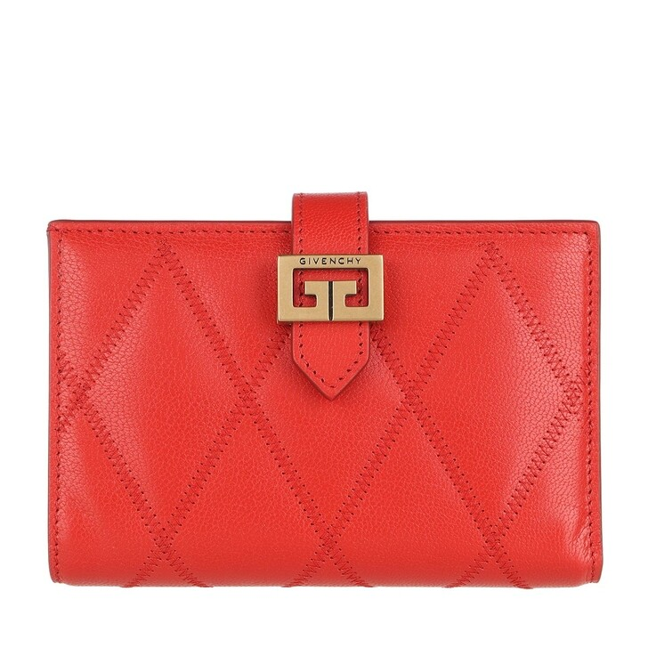 Geldbörse, Givenchy, Diamond Quilted Wallet Leather Light Red