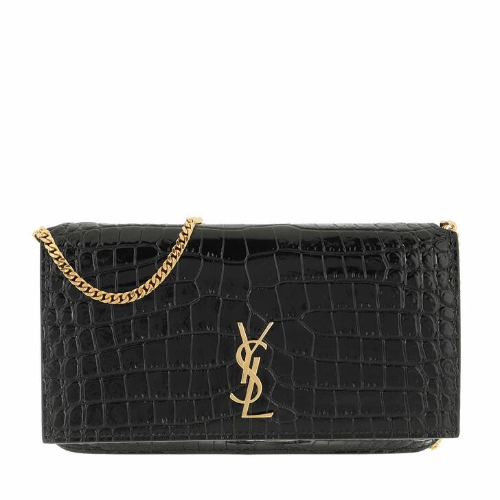 smart_cases, Saint Laurent, Monogram Strap Phone Holder Shiny Leather Black
