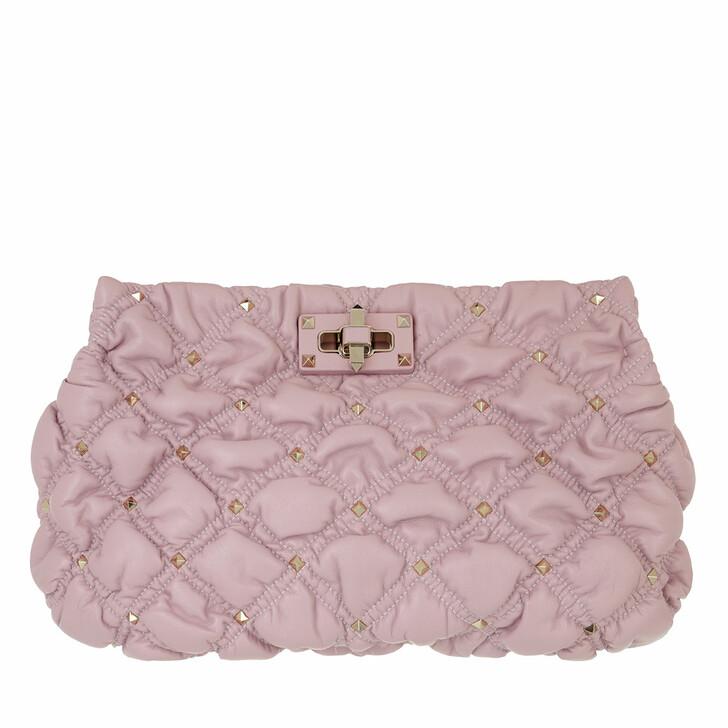 bags, Valentino Garavani, Spike Me Clutch Nappa Leather Water Lilac