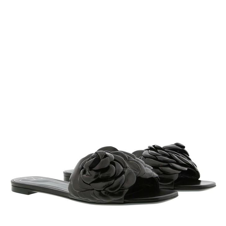 shoes, Valentino Garavani, Rose Slide Sandal Leather Black