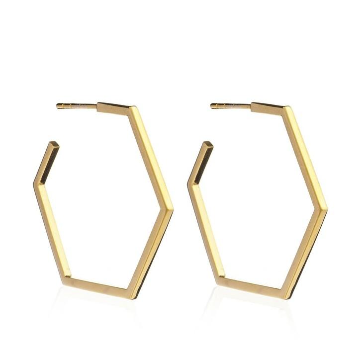 Ohrring, Rachel Jackson London, Serenity Large Hex Hoops Gold