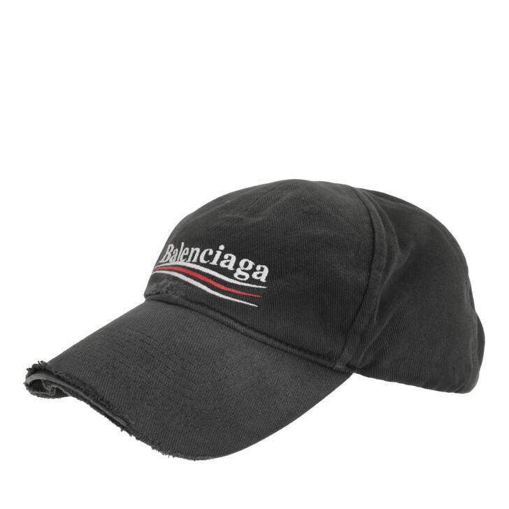 hats, Balenciaga, Political Campaign Destroyed Cap Black/White