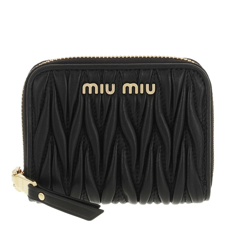 wallets, Miu Miu, Matelassé Coin Purse Nappa Leather Black