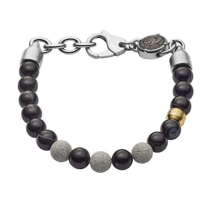 Armreif, Diesel, Beaded Two-Tone Semi-Precious Concrete Bracelet Black
