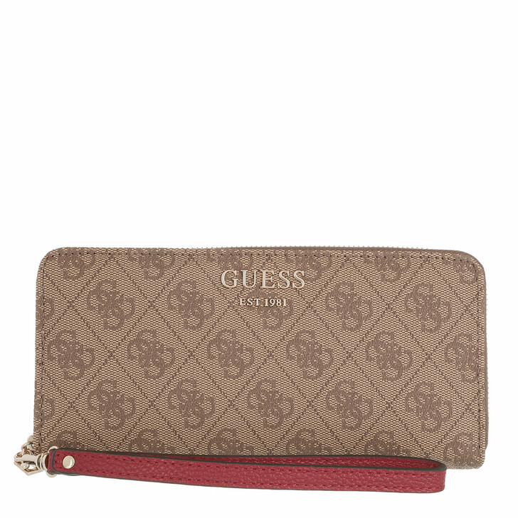 wallets, Guess, Vikky Slg Large Zip Around Latte Logo