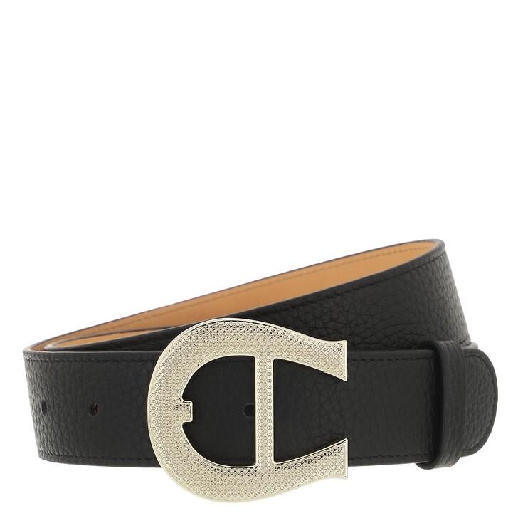 belts, AIGNER, Logo Belt 3,5 cm Black