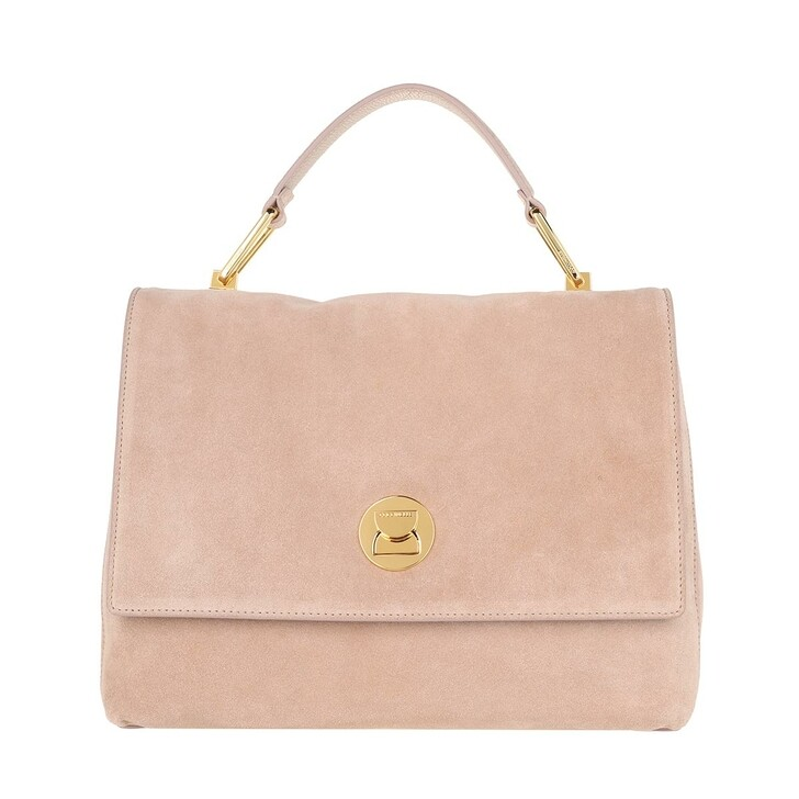 bags, Coccinelle, Handbag Suede Leather Powder Pink