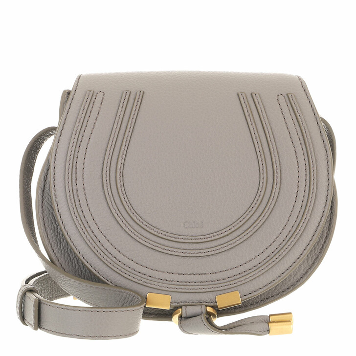 bags, Chloé, Small Marcie Shoulder Bag Grained Leather Cashmere Grey