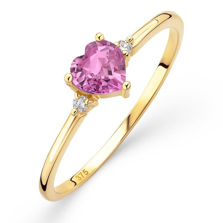 rings, DIAMADA, 9K Ring with Diamond and Sapphire Yellow Gold and Natural Pink