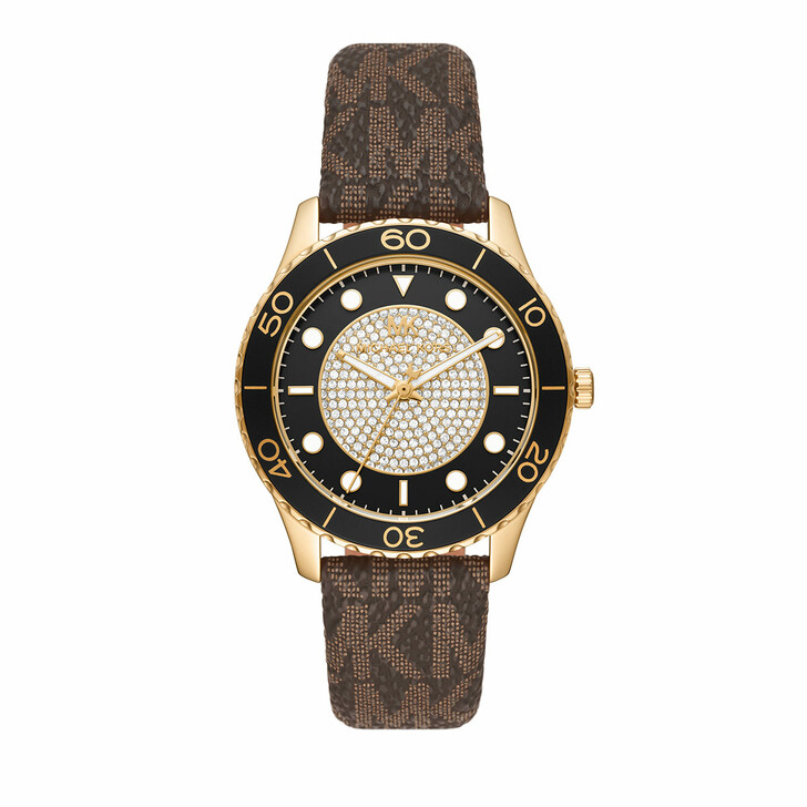 watches, Michael Kors, Women's Runway Three-Hand Stainless Steel Watch MK Gold Brown