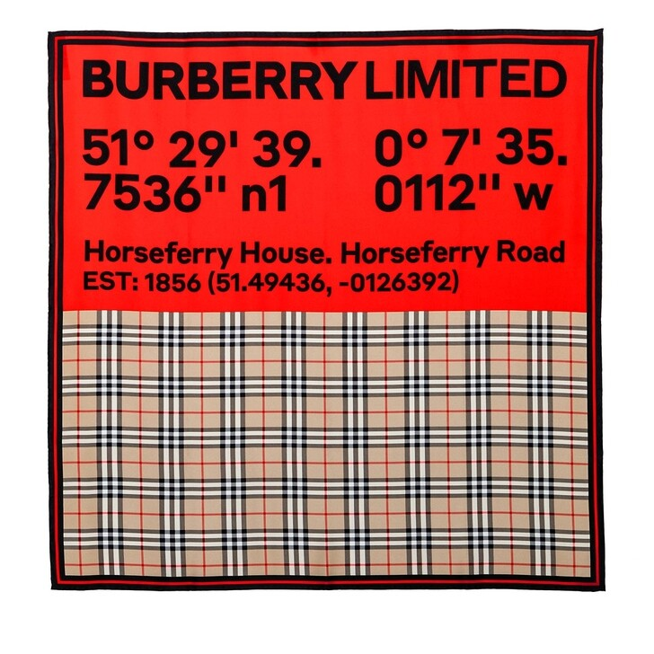 Schal, Burberry, Printed Scarf Archive Beige/Red