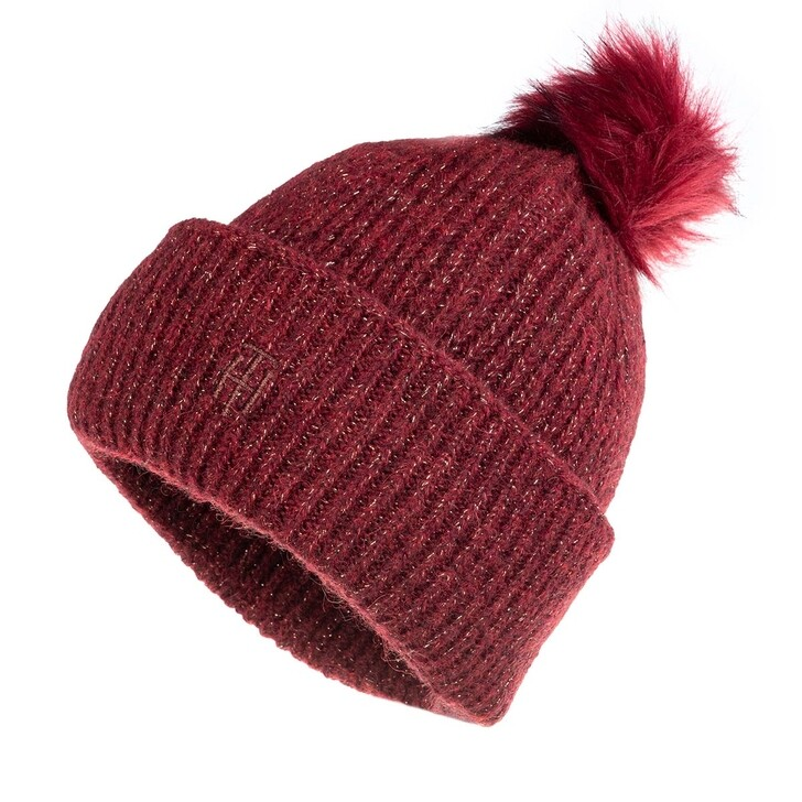 Schal, Tommy Hilfiger, TH Effortless Beanie Pom Pom Deep Rouge