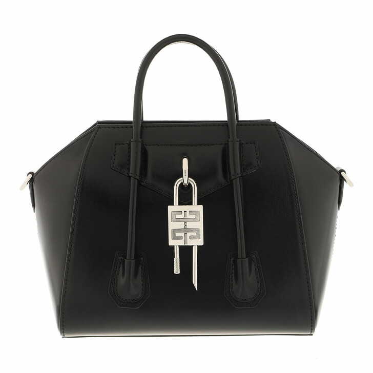 bags, Givenchy, Mini Antigona Lock Handle Bag In Box Leather Black