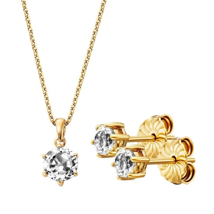 Ohrring, BELORO, Set Necklace And Earring White Topaz  Gold-Plated