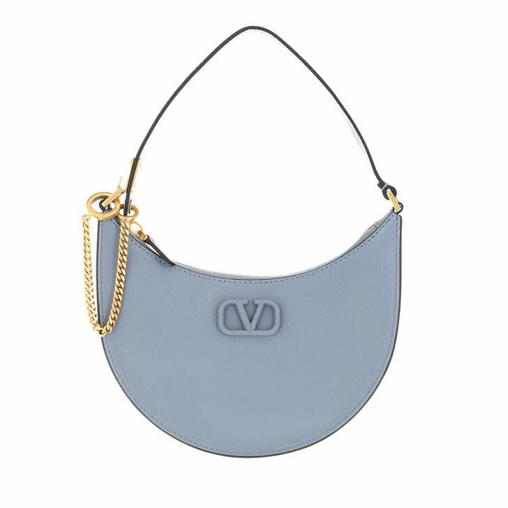 bags, Valentino Garavani, Mini V-Logo Signature Hobo Bag Leather Niagara Blue