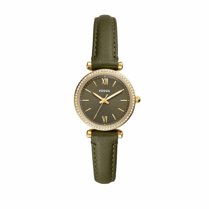 watches, Fossil, Women's Carlie Three-Hand Stainless Steel Watch, E Gold Green