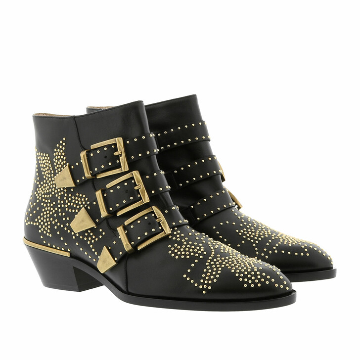 Schuh, Chloé, Susanna Leather Studs Boots Black/Gold