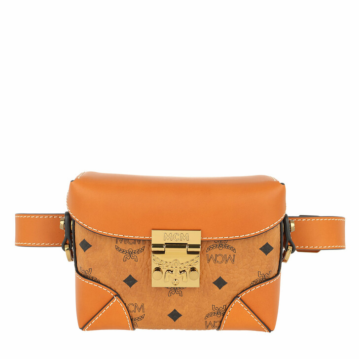 Handtasche, MCM, Soft Berlin Visetos Belt Bag Small Cognac