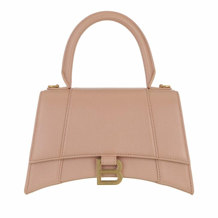 Handtasche, Balenciaga, Hourglass Embossed Top Handle Bag Leather Nude Beige
