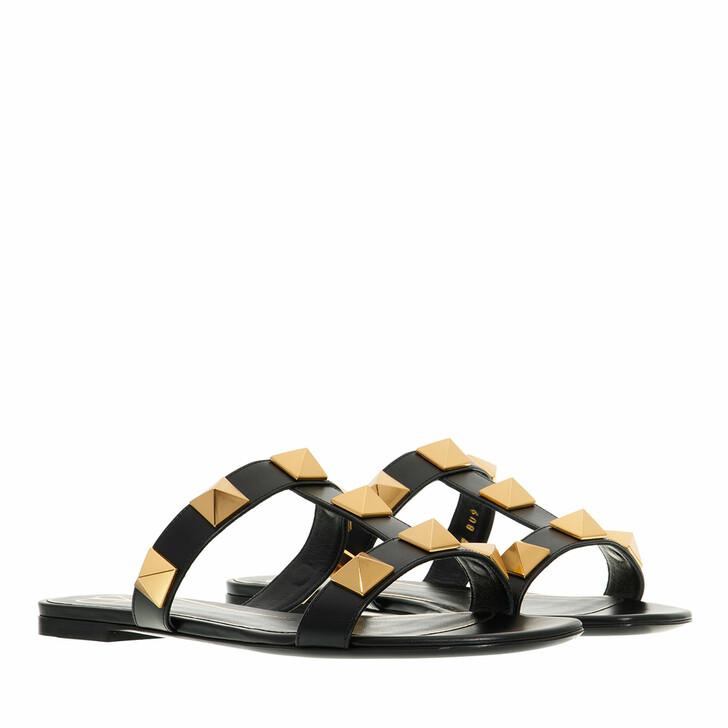 shoes, Valentino Garavani, Roman Stud Slide Sandals Black