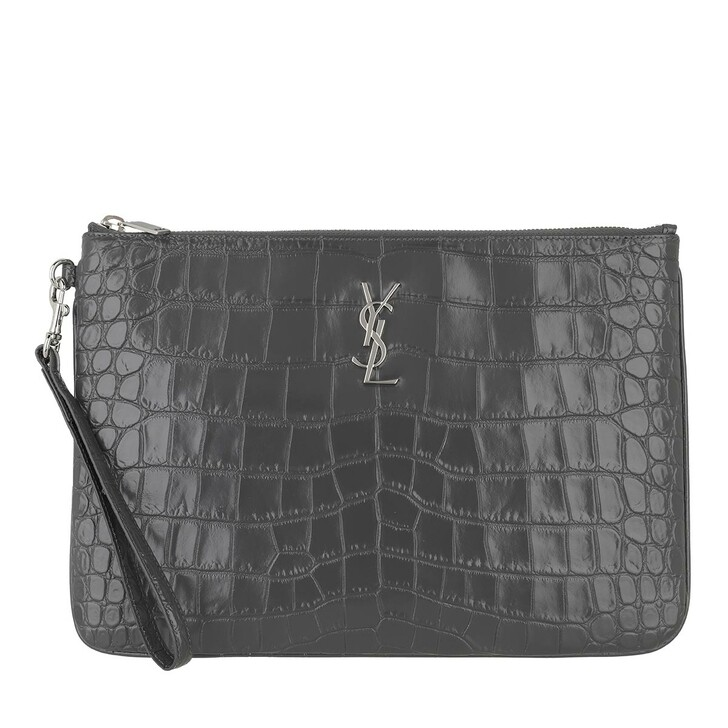 Smartphone/Tablet case (Case), Saint Laurent, Monogram Tablet Pouch Crocodile Embossed Leather Storm